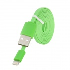 Male USB to Lightning Data Sync & Charging Flat Cable for iPhone 5 - Green (100cm)