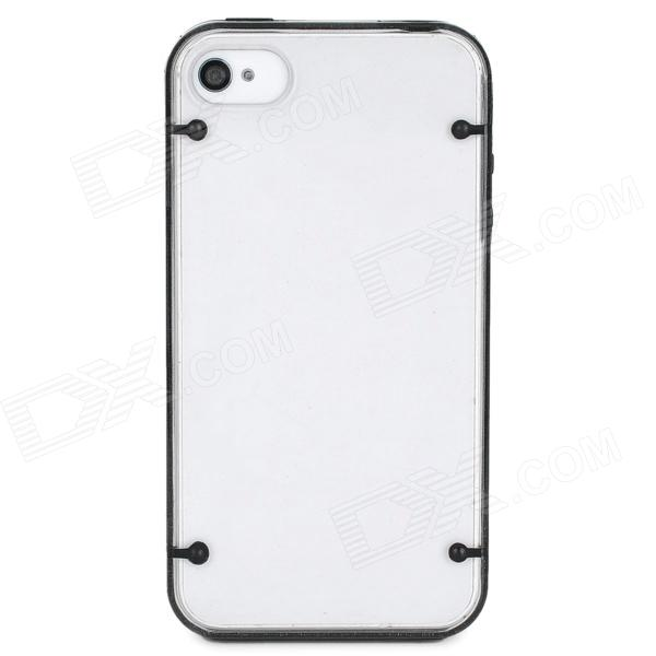 Protective Noctilucent PVC + Silicone Case for Iphone 4 / 4S - Black + Transparent