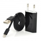 EU-Stecker USB Wall Charger w / Blitz Flachkabel für iPhone 5 Stellen + More - Schwarz (100cm)