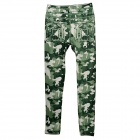 Women's Stylish Camouflage Pattern Elastic Cropped Cotton Leggings - Green