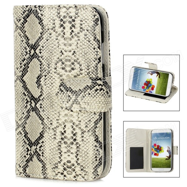 Snakeskin Pattern Protective PU Leather Flip-Open Case for Samsung Galaxy S4 i9500 - White + BlackLeather Cases<br>Brand N/A Quantity 1 Piece Color Black + white Material PU Leather + plastic Compatible Models Samsung Galaxy S4 i9500 Other Features Protects your device from scratches dust and shock Packing List 1 x Case<br>