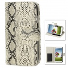 Snakeskin Pattern Protective PU Leather Flip-Open Case for Samsung Galaxy S4 i9500 - White + Black