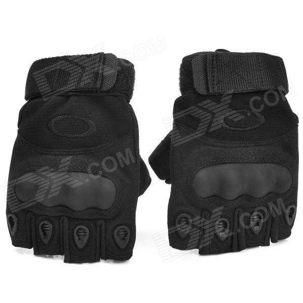 Outdoor Tactics Hard Shell Sheepskin Anti-Slip Half-Finger Gloves - Black (Size M / Pair) davs leopard pattern outdoor sports anti skid breathable half finger gloves w iron protection plate