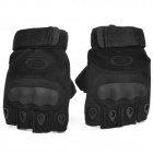 Outdoor Tactics Hard Shell Sheepskin Anti-Slip Half-Finger Gloves - Black (Size M / Pair)