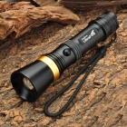 UItraFire AF-13 CREE XP-E Q5 250lm 3-Mode White Zooming Flashlight - Black + Golden (1 x 18650)