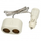 Dual Sockets USB Car Cigarette Lighter Charger - White (12V / 24V)