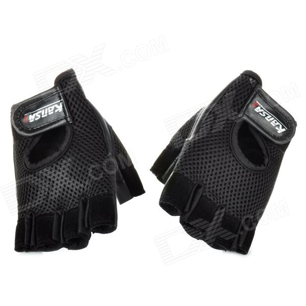 KS1123 Protective Outdoor Sports Exercise and Fitness Half-Finger Mesh Cloth Gloves - Black (Pair) sw3069 outdoor tactic sports exercise protective goggles black
