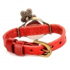 Fashion 3D Flower Design Lady's Quartz Wrist Watch - Red + Antique Brass (1 x 337)