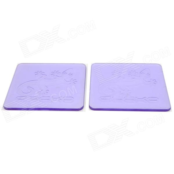 Gecko Pattern Auto Car Anti-Slip Silicone Pad Mat for Cell Phones - Transparent Purple (2 PCS)