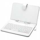 "80-Key QWERTY Wired Keyboard with Protective PU Leather Case for 7"" Tablet  -  White + Black"