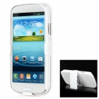 Stripe Style Protective Plastic Back Case w/ Back Clip Stand for Samsung Galaxy S3 i9300 - White
