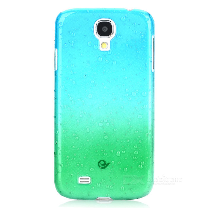 Protective Water Drop Style Back Case for Samsung Galaxy S4 / i9500 - Blue + Green water drop style protective plastic back case for samsung galaxy s4 i9500 yellow orange