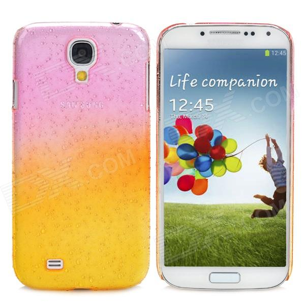Protective Rain Drop Style Back Case for Samsung Galaxy S4  - Translucent Pink + Translucent Yellow water drop style protective plastic back case for samsung galaxy s4 i9500 yellow orange