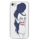 Patrón de Long Hair Beauty Caso de silicona para Iphone 4 / 4S - Blanco + Negro