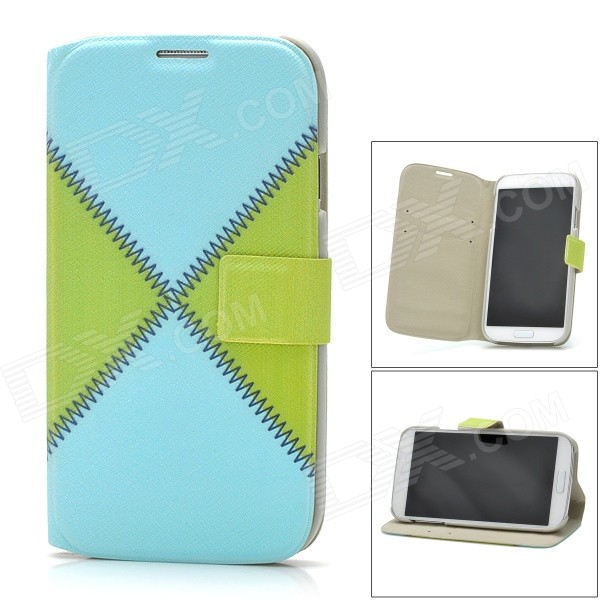 Protective Leather + Plastic Case w/ Holder + Card Slots for Samsung i9500 - Blue + Green + Grey