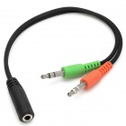 3.5mm hembra a la doble fractura de audio y-cable macho - negro (23 cm)
