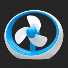 Fashion USB Powered 1-Mode 3-Blade Mini Fan - Blue + White