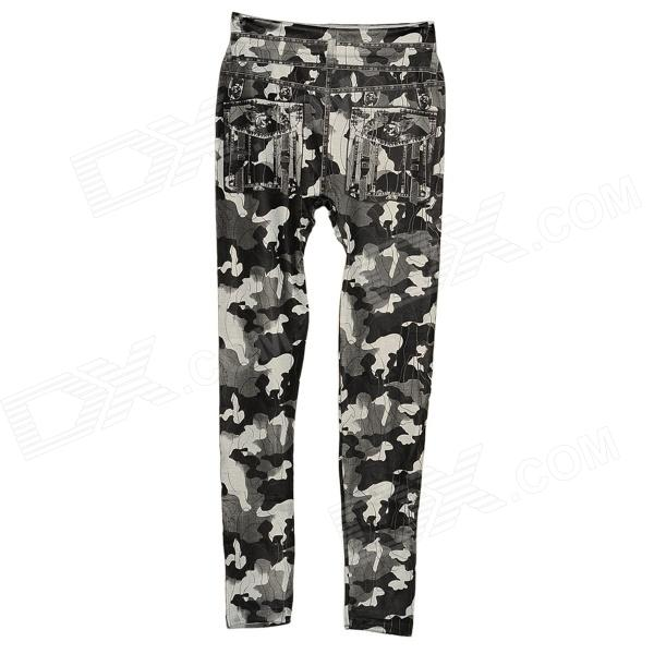 MCS-01 Women's Fashion Ninth Pants Legging - Black Camouflage