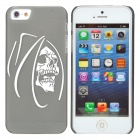 Stylish Skull Pattern PVC Back Case for Iphone 5 - Black + White