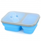 Folding Silicone Lunch Box Bento Box - Blue + Grey