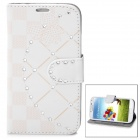 Protective PU Leather + Rhinestone Case for Samsung Galaxy S4 i9500 - White + Light Yellow
