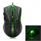 USB Wired 800 / 1600 / 2400 / 3200dpi Optical Mouse w/ Green Light LED - Black + Green