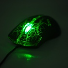 FC-5160 USB Wired 800 / 1600 / 2400 / 3200dpi Optical Mouse w/ Green Light LED - Black + Green