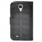 Snakeskin Pattern Protective PU Leather Flip-Open Case for Samsung Galaxy S4 / i9500 - Black