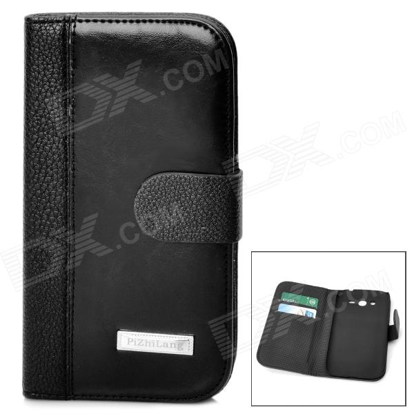 Protective PU Leather Flip-Open Case for Samsung i9082 - Black protective flip open pu leather plastic case for htc desire 700 black