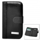 Protective PU Leather Flip-Open Case for Samsung i9082 - Black