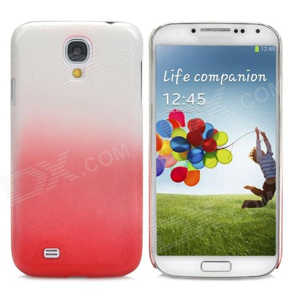 Rain Drop Pattern Ultra-Slim Plastic Back Case for Samsung Galaxy S4 / i9500 - White + Red