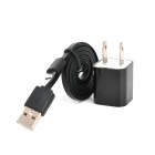 AC Power Adapter + USB to-8-Pin Lightning Charging / Data Cable for iPhone 5 - Black (US Plug)
