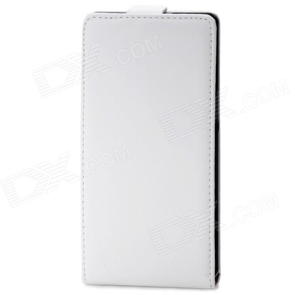 Stylish Up-Down Flip-Open Leather Case for Sony Xperia Z 136h - White + Black