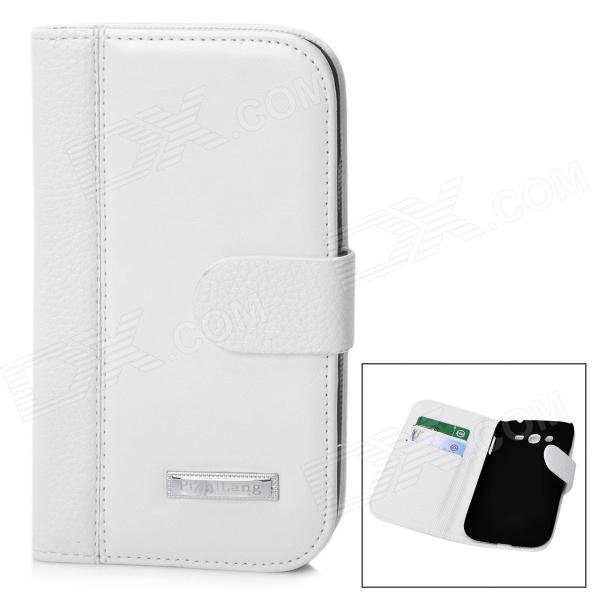 все цены на Protective PU Leather Flip-Open Case for Samsung i9082 - White
