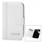 Protective PU Leather Flip-Open Case for Samsung i9082 - White