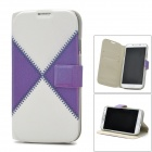 Protective Leather + Plastic Case w/ Holder + Card Slots for Samsung i9500 - White + Purple + Grey