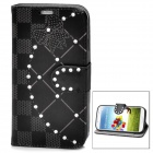 Stylish Flip-Open Leather Stand Case w/ Rhinestone for Samsung Galaxy S4 / i9500 - Black