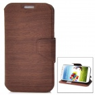 Wood Grain Pattern Protective PU Leather Flip-Open Case for Samsung Galaxy S4 / i9500 - Deep Brown