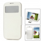 Protective PU Leather Cover TPU Back Case w/ Transparent Window for Samsung Galaxy S4 i9500 - White