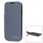 3200mAh External Back Case Battery w/ PU Leather Cover / Stand for Samsung Galaxy S4 i9500 - Black