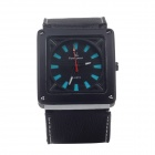 Super Speed V6 V0164-BB Men's Square Dial Wide Band Quartz Wrist Watch - Black + Blue (1 x LR626)
