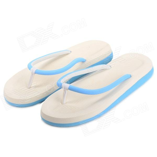 Rubber + PVC Flip-Flop Slippers - Blue + White (Size 38)
