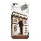 Retro Arc de Triomphe Pattern Protective Plastic Back Case for Iphone 5 - White + Brown