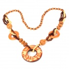 Round Wood Resin Necklace w/ Pendant for Women - Brown