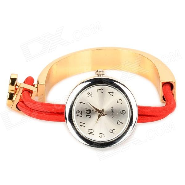 Fashion A-10694 Stainless Steel Band Quartz Wrist Watch for Women - Silver + Golden + Red fashion stainless steel red yellow led water resistant wrist watch black 2 x cr2016