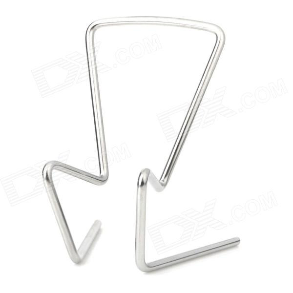 Simple Stainless Steel Frame Desktop Holder Stand for Iphone / Cellphone - Silver