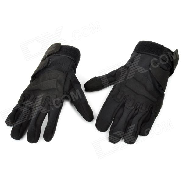 SW3033 Outdoor Sports Full-Fingers Windproof Cycling Gloves - Black (Size XL)