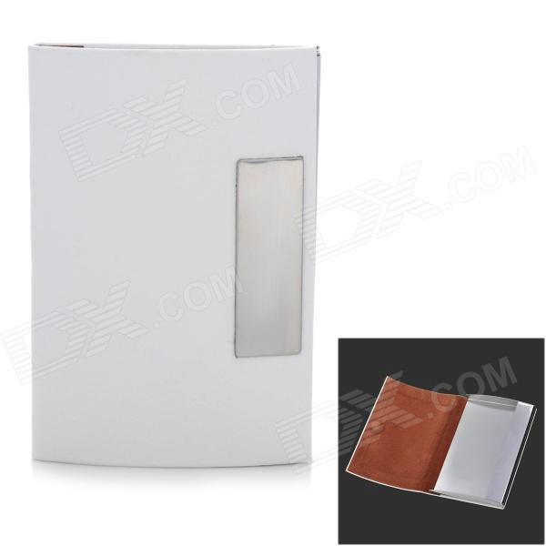 Stainless Steel + PU Leather Business Card Case - White + Silver ae009 30 in 1 pu stainless steel business cards case coffee silver