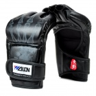 WOLONG MMA Half-finger Fighting / Boxing PU Gloves - Black (Pair)
