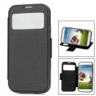 Protective PU Leather Cover TPU Back Case w/ Transparent Window for Samsung Galaxy S4 i9500 - Black